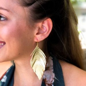 Genuine Leather Gold Feather Earrings